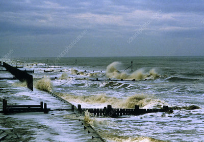 Sea defences (wooden bulwarks) at Sea Palling, UK