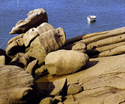 Granite rocks eroded by the sea