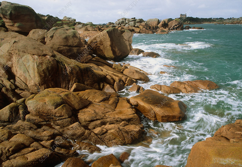 Pink granite rocks on Brittany coast