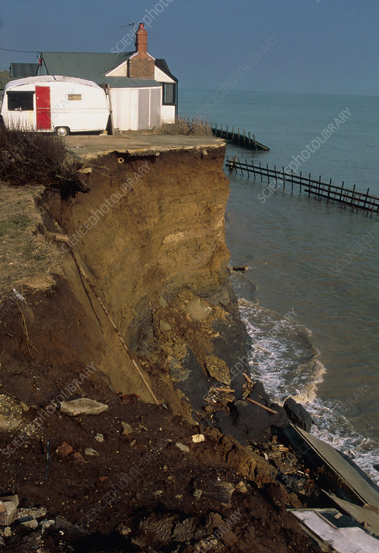 House perched at the top of a sea eroded cliff