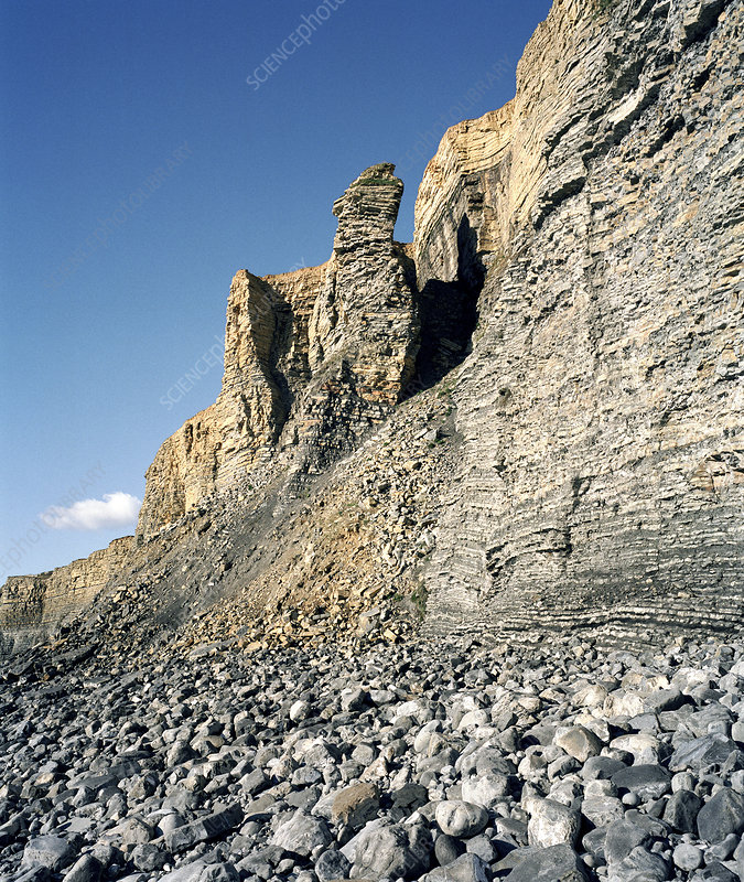 Eroded liassic limestone cliffs, Wales