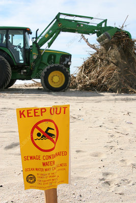Backhoe and Keep Out Sign