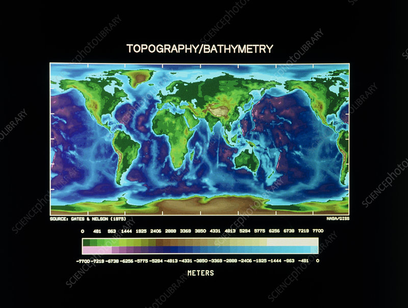 Topographic relief map of World's surface