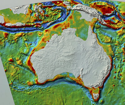 Sea topography around Austalasia