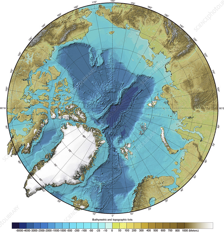 Bathymetry and topography of the Arctic