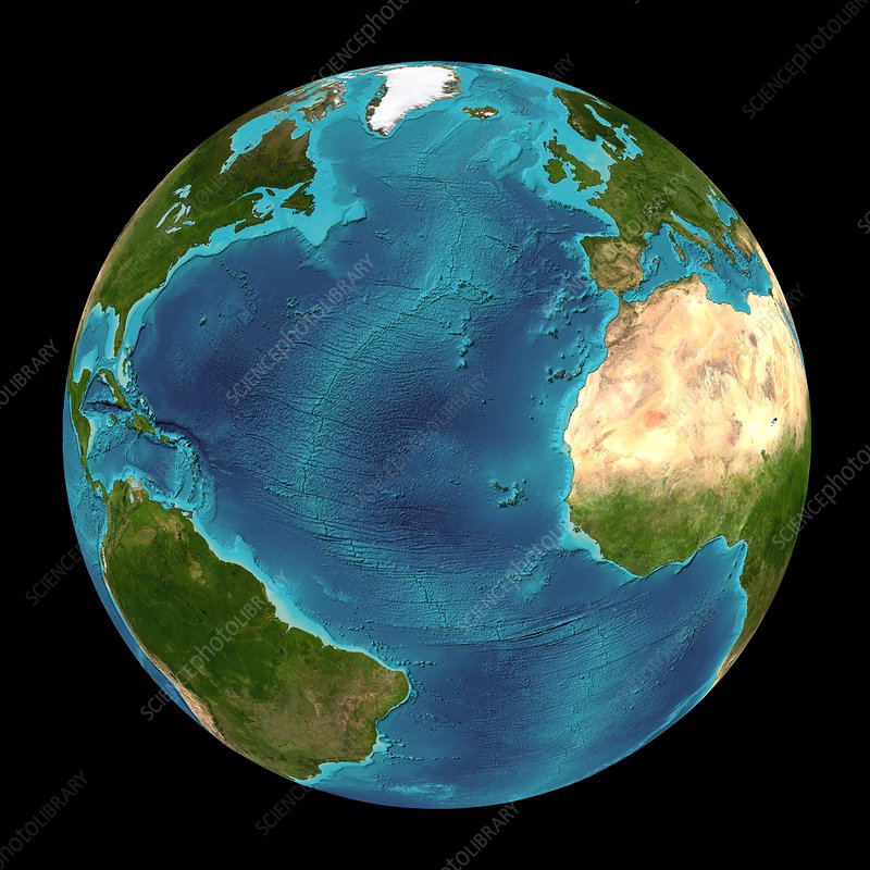 North Atlantic Ocean Seafloor Map