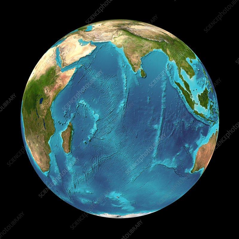 Indian Ocean, Seafloor Map