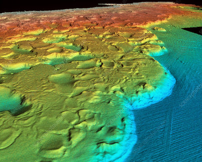 Sonar of ocean floor off Louisiana, USA