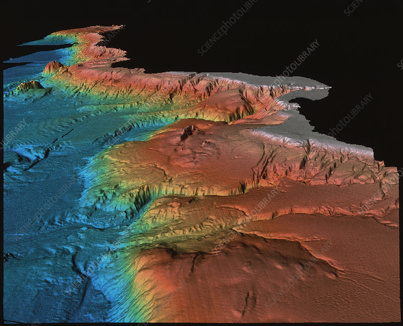 Sonar image of ocean floor off California, USA