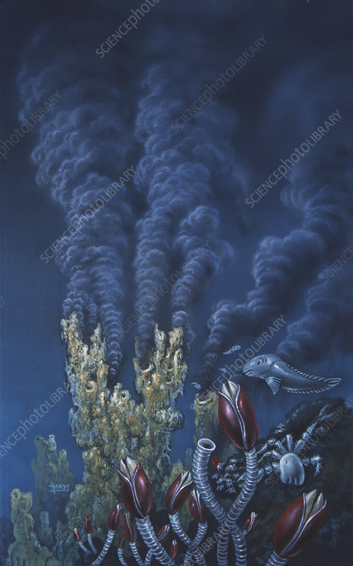 Artwork of a black smoker hydrothermal vent