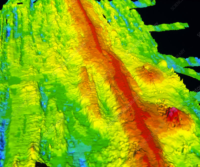 Sonar image of ocean floor showing mid-ocean ridge