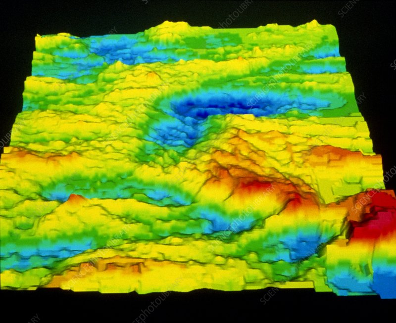 Sonar image of ocean floor showing a rift valley