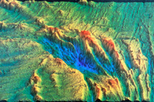 Sonar image of the ocean floor showing rift valley