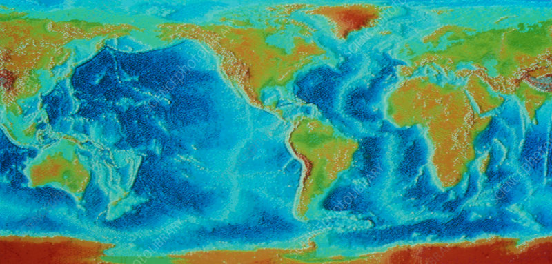 Map of the world showing oceanic ridges