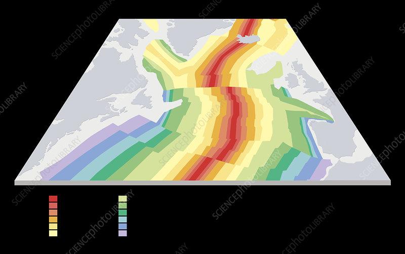 Paleomagnetism in sea floor spreading