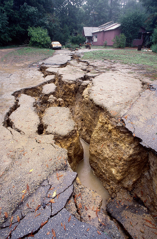 by earthquake, California