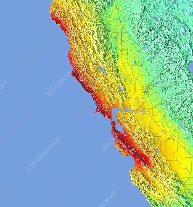 1906 Earthquake Map.1906 San Francisco Quake Intensity Map Stock Image E360 0014