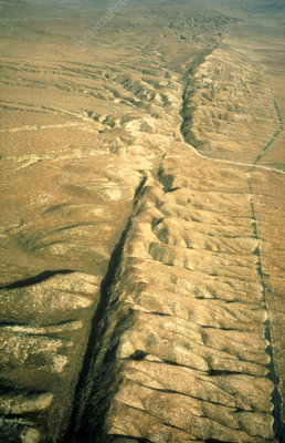 Aerial photo of the San Andreas fault