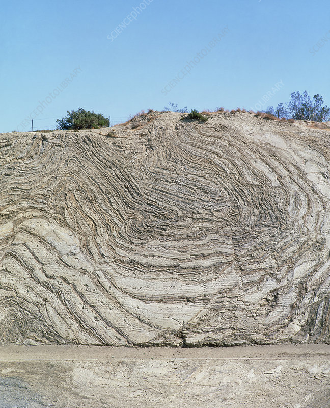Folded rock strata of the San Andreas fault