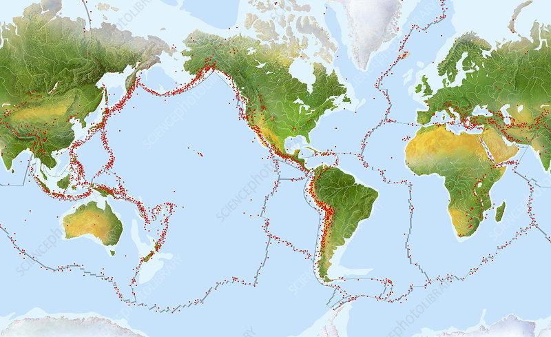 Earthquake distribution map - Stock Image - E365/0094