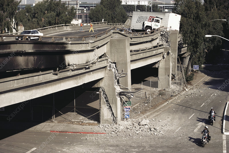 Collapsed freeway after the Californian earthquake