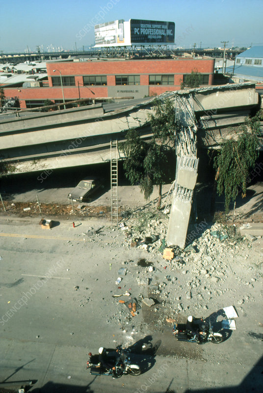 Collapsed freeway, Californian earthquake