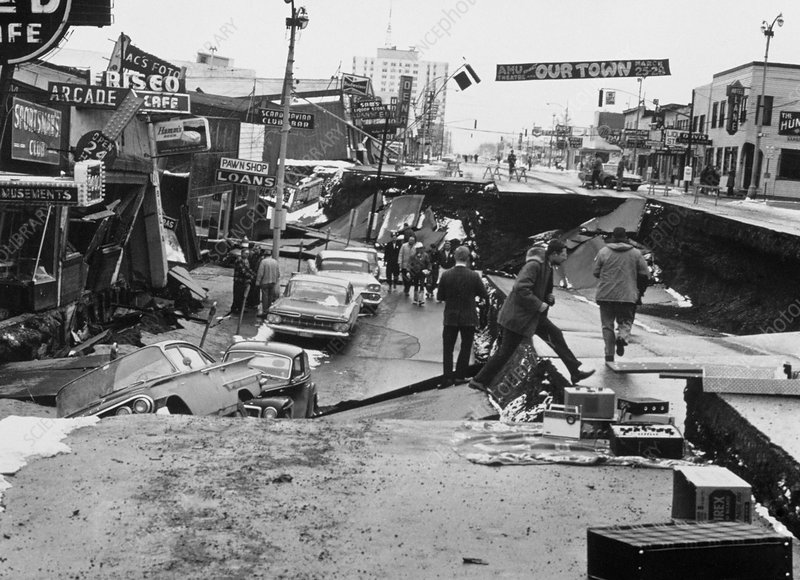 Damage caused by Alaska Earthquake 27/3/1964