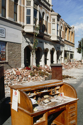 Buildings damaged by an earthquake in California