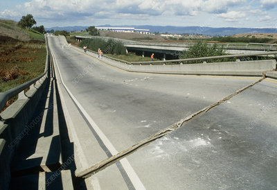 Collapsed road bridge after an earthquake
