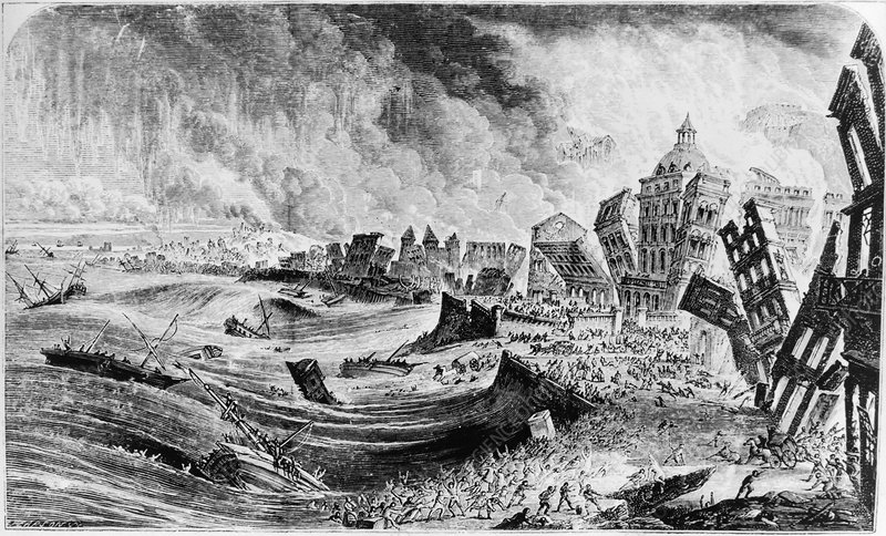 Engraving of the 1755 Lisbon earthquake, Portugal