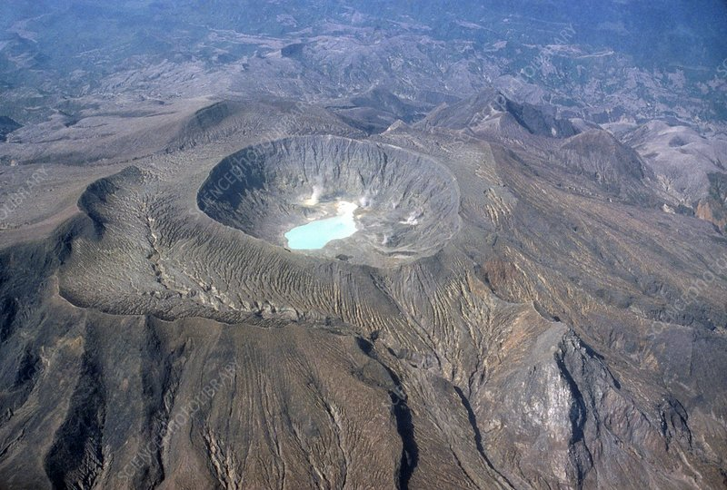 Aerial photograph of El Chichon crater