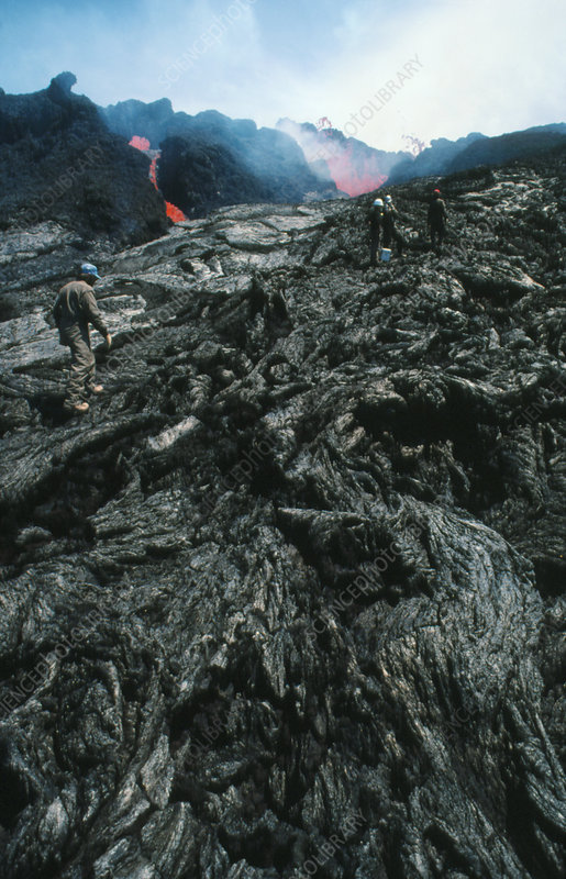 Geologists studying lava flows on Mauna Loa