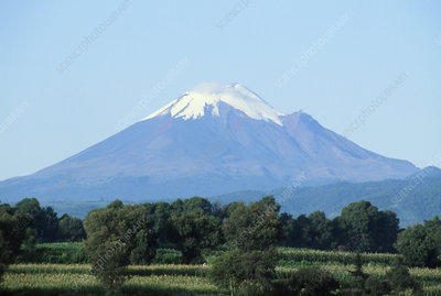 View of Popocatepetl volcano, Mexico