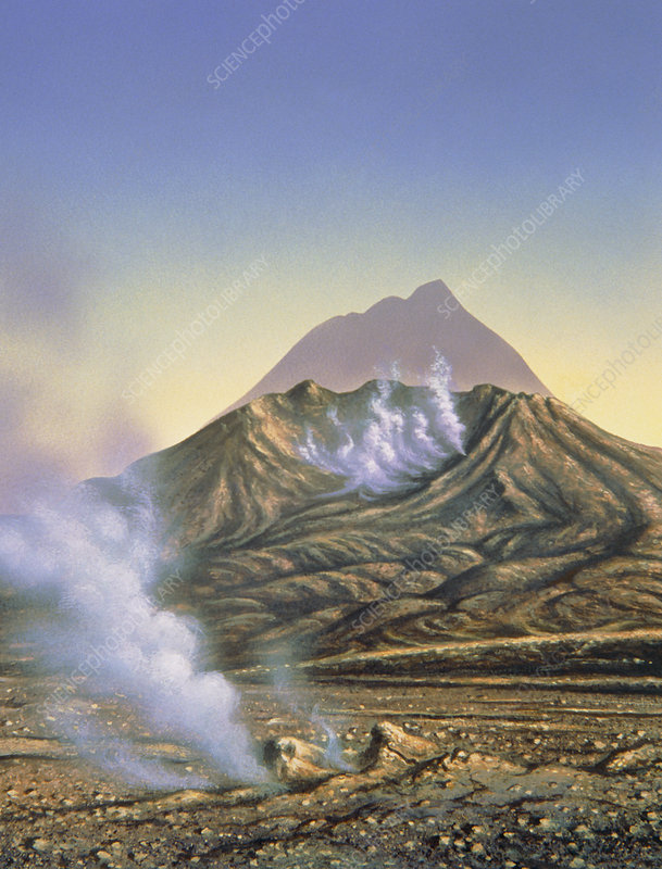 Artwork of Bezymianny volcano before & after 1956