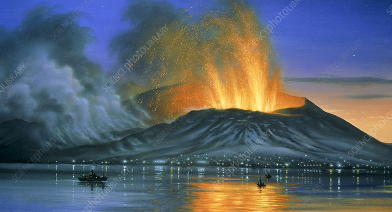 Artwork of eruption of Heimaey, Iceland, 1973
