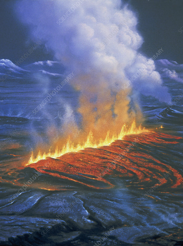 Artwork of fissure eruption, Krafla, 1977