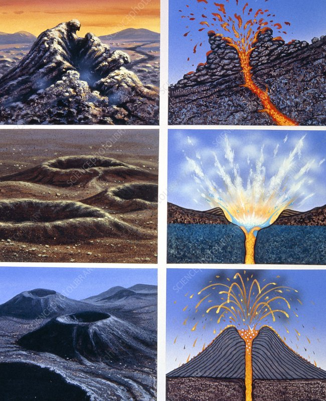 diagram of volcanic crater types - stock image - e380/0234 - science photo  library