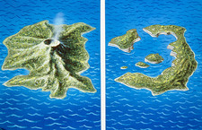 Santorini before and after explosion of 1470 BC