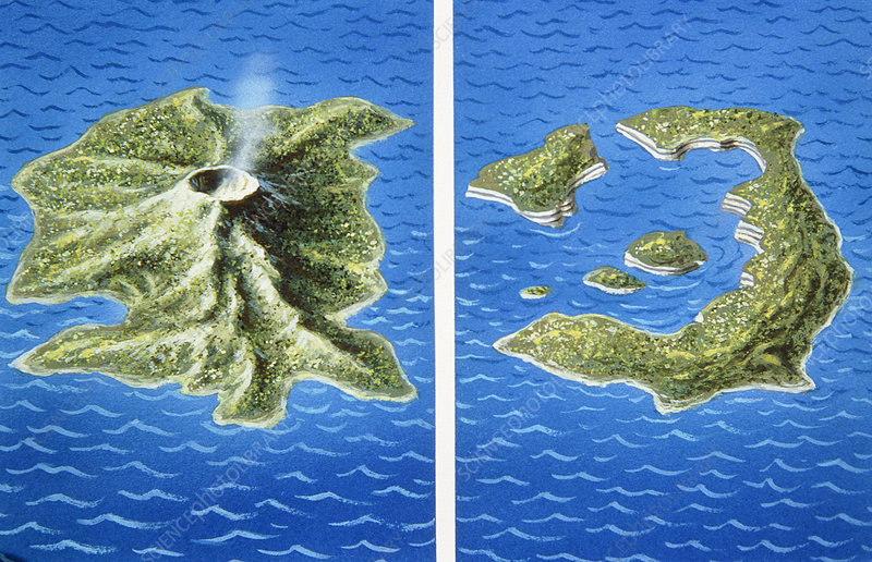 Santorini before and after explosion of 1470 bc stock image e380