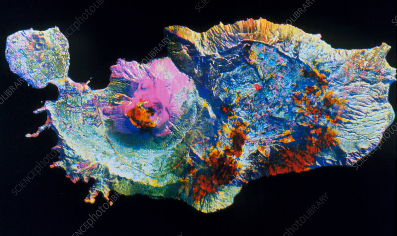 Infrared image of Island of Volcano