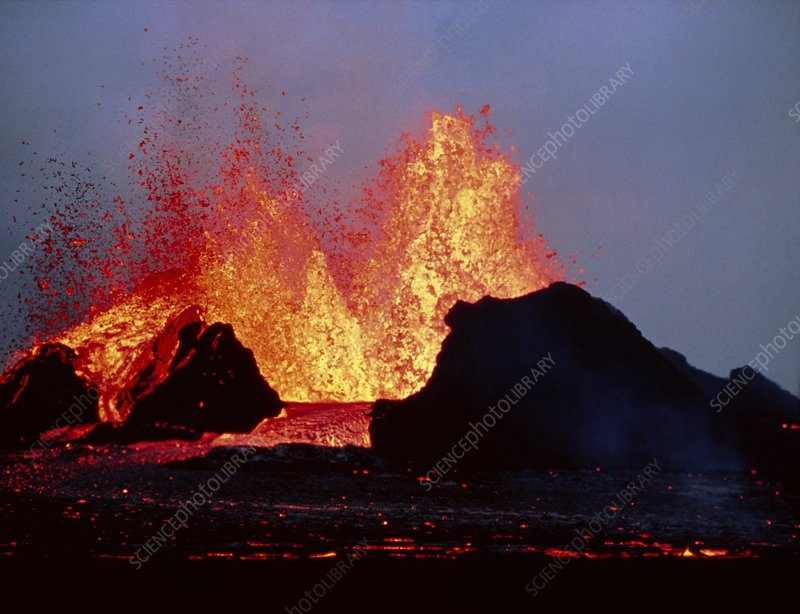 Volcanic lava fountains