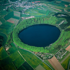 View of the Pulvermaar lake in an extinct crater