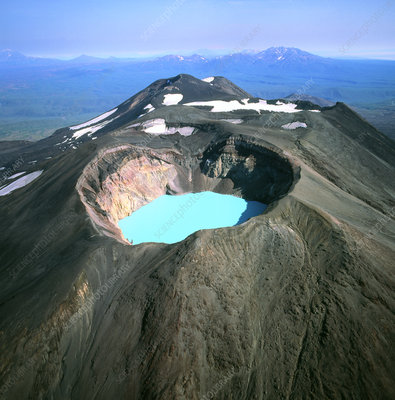 View of a crater lake in Maly Semiachik volcano