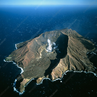 White Island volcano off the coast of New Zealand