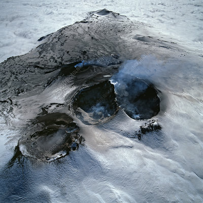 Aerial view of Mount Etna's four main craters