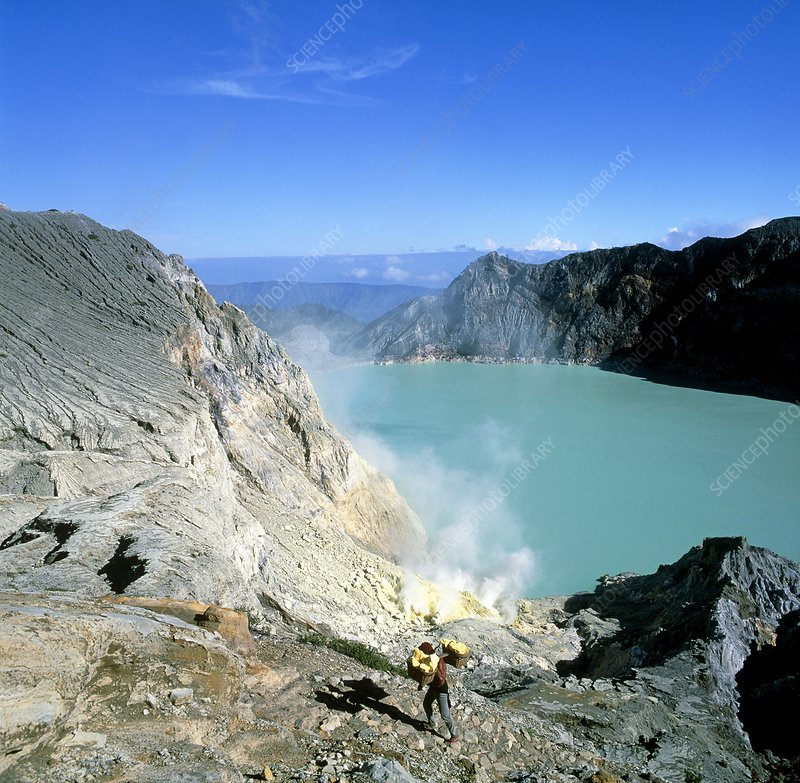 Volcanic crater lake with sulphur deposits
