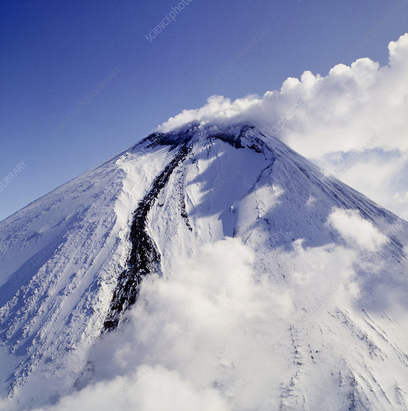 Steaming summit of Klyuchevskoy volcano, Russia