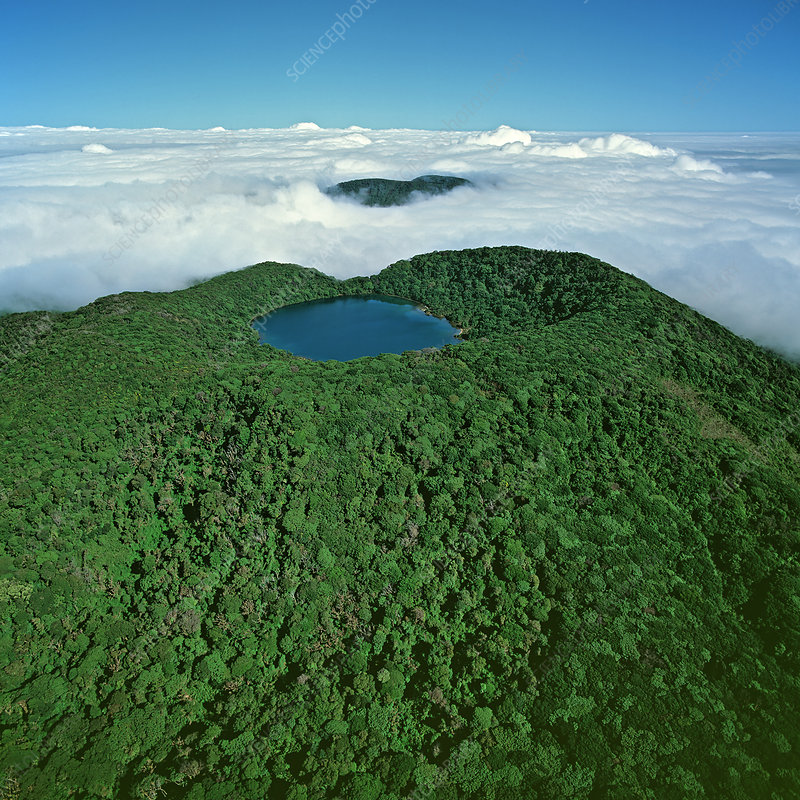 Botos volcano crater lake seen above cloud layer