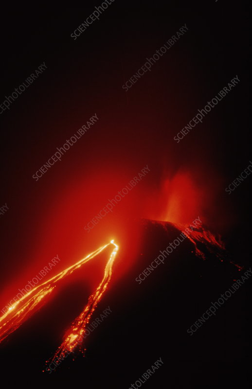 View of the Pacaya volcano erupting
