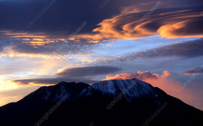 Sunrise and Clouds Above Mount St. Helens